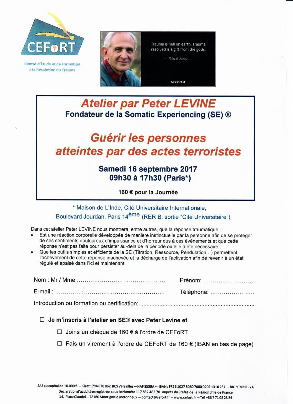 Atelier par Peter Levine Samedi 16 Septembre 2017 – Guérir les personnes atteintes par des actes terroristes