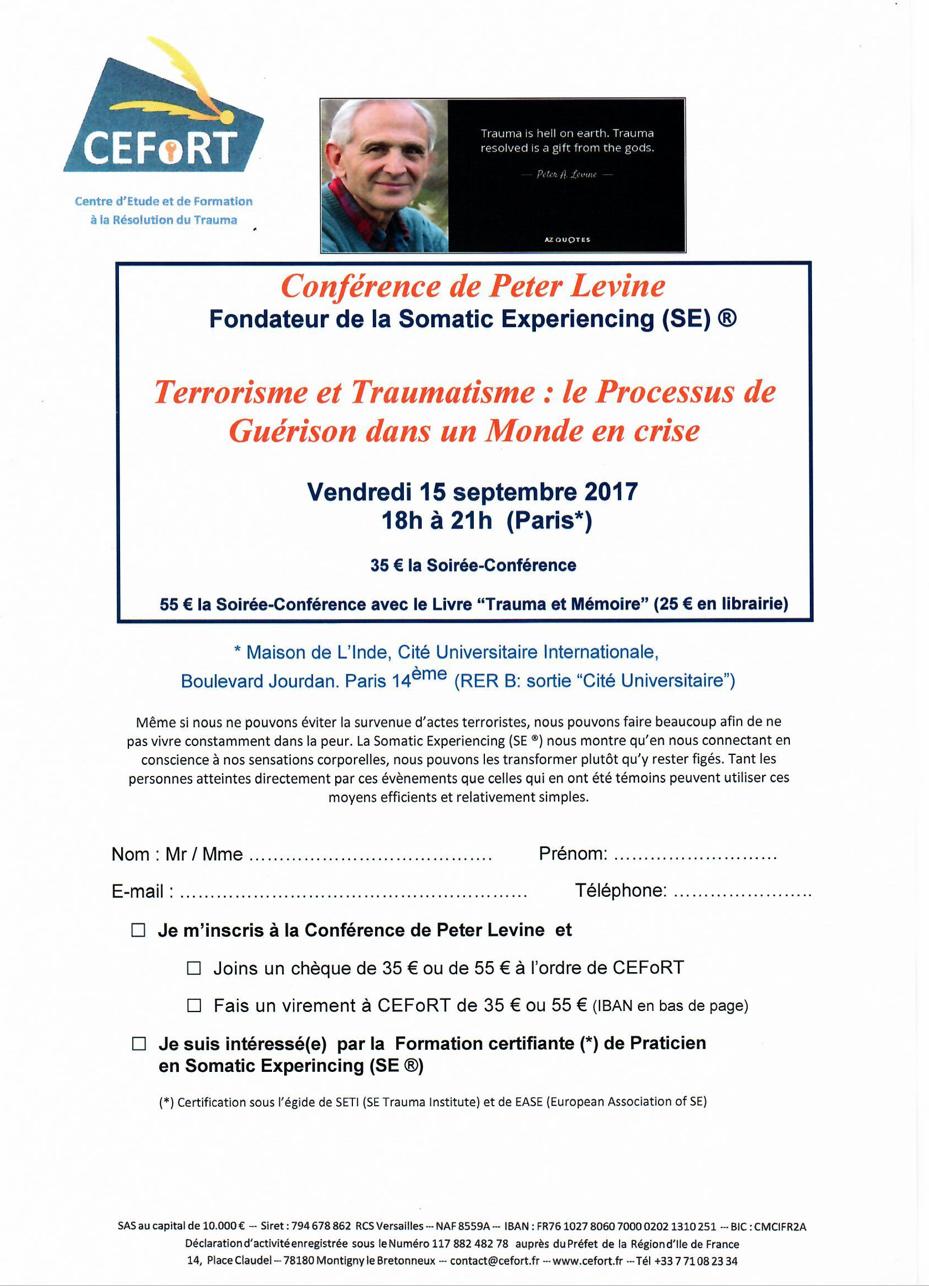 Conférence de Peter Levine – Vendredi 15 Septembre 2017 – Terrorisme et Traumatisme : Le processus de Guérison dans un Monde en crise