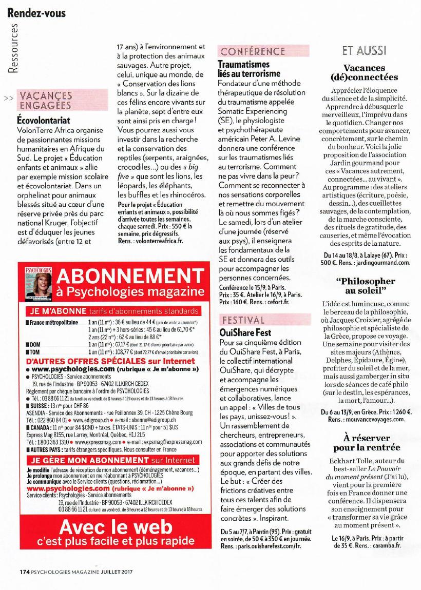 Psychologies Juillet 2017 – Magazine – Peter Levine