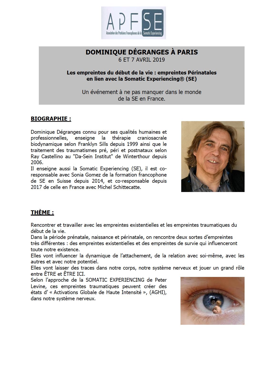 STAGE COMPLET – Formation de Dominique Dégranges à Paris les 6 et 7 avril 2019