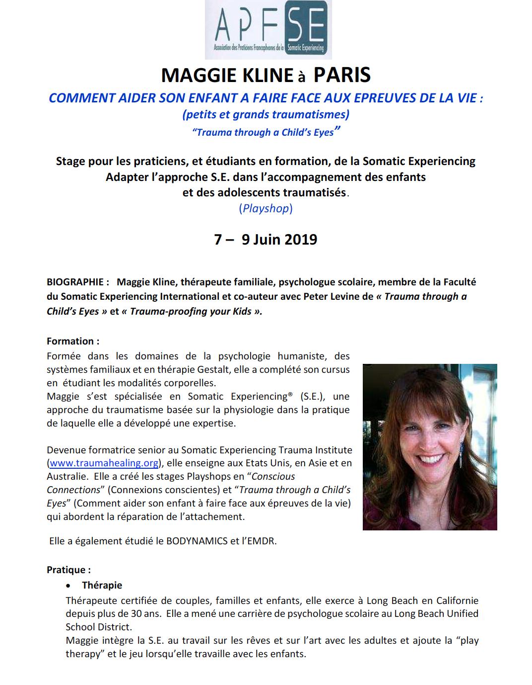 STAGE COMPLET-Maggie Kline à Paris – Comment aider son enfant à faire face aux épreuves de la vie  (7-9 Juin 2019)