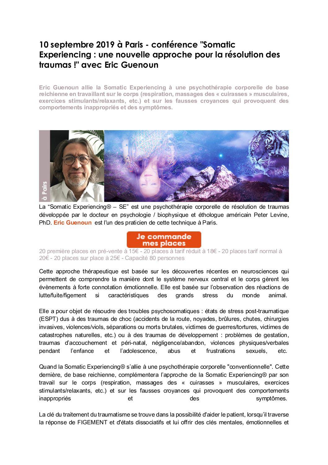 le 10 septembre à Paris, Conférence «Somatic Experiencing : une nouvelle approche pour la résolution des traumas!» Avec Eric Guenoun